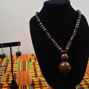 Jewelry - Matching Set: African Wooden Necklace and Earrings